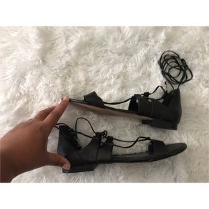White House Black Market Strappy Sandals Black 8.5